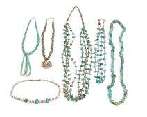 A group of Native American turquoise jewelry