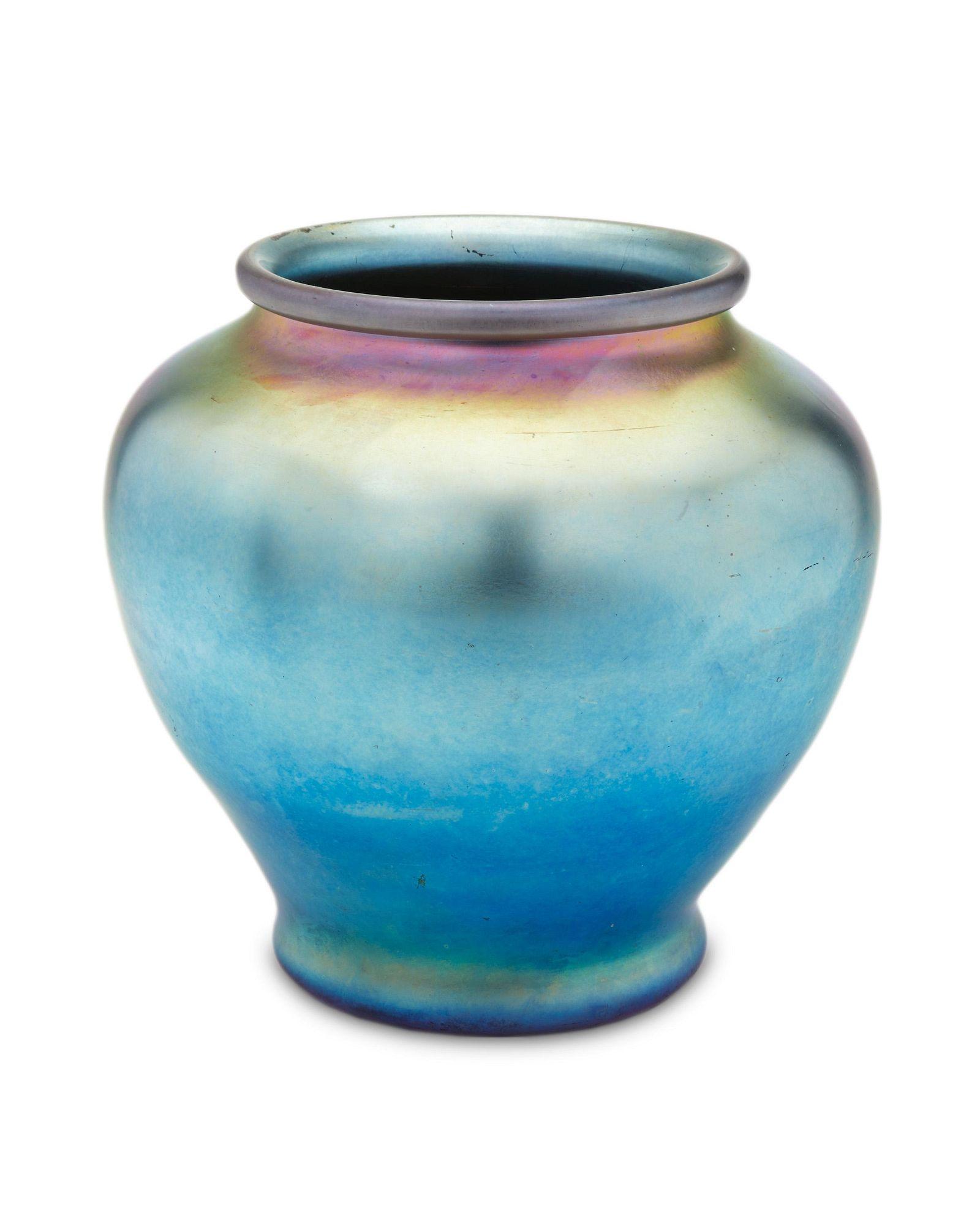 A blue Steuben Aurene glass vase