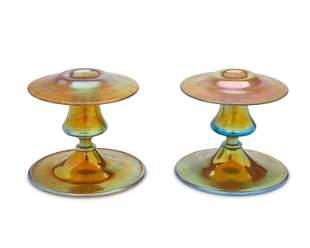 A pair of Steuben Aurene glass candlesticks