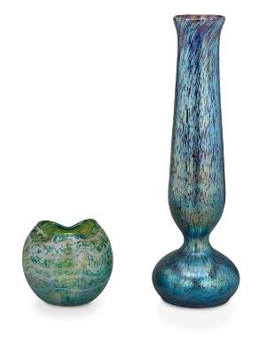 Two Loetz-style art glass vases