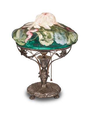 """A Pairpoint reverse-painted puffy glass """"Lotus"""" table"""