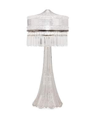 An American Brilliant cut glass table lamp