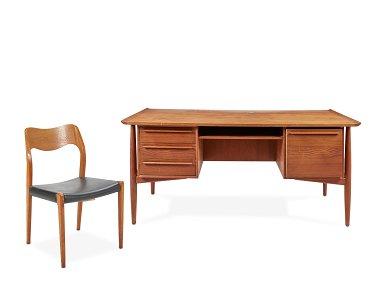 An H.P. Hansen Danish modern teak executive desk with