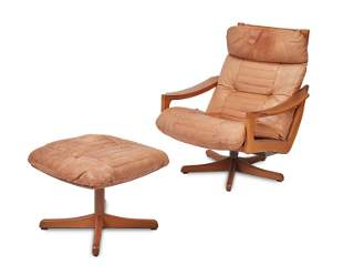 A Lied Mobler Norwegian lounge chair with ottoman