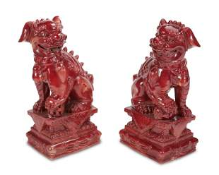 "A pair of Chinese glazed ceramic ""Shishi"" guardian"