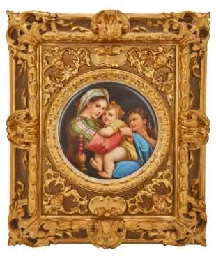 An Italian painted porcelain plaque after Raphael