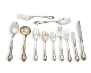 """A Gorham """"Alencon Lace"""" sterling silver flatware"""