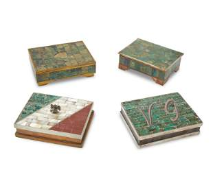Four Mexican inlaid mixed-metal boxes