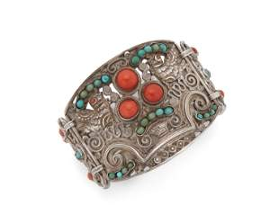 A Matl silver and gem-set dove bracelet