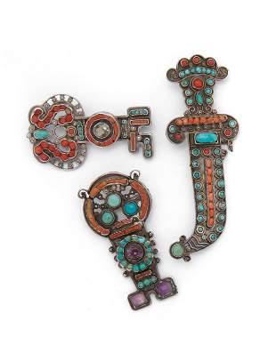 Three Matl gem-set brooches