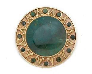 An Enrique Ledesma gold and agate brooch