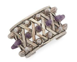 An Antonio Pineda sterling silver and amethyst cuff