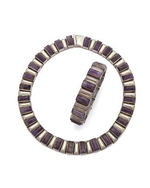 A set of Antonio Pineda sterling silver and amethyst