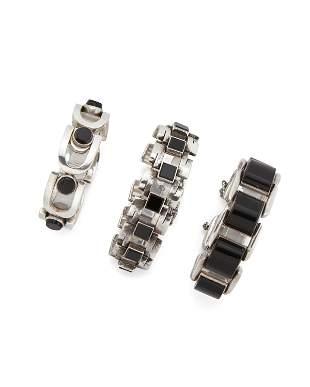 Three Antonio Pineda sterling silver and onyx bracelets