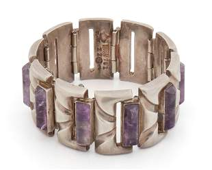 An Antonio Pineda sterling silver and amethyst bracelet