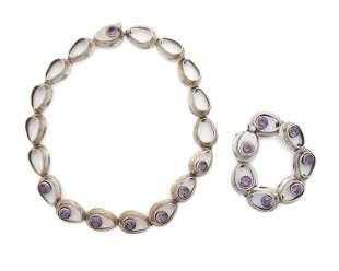 A set of Antonio Pineda sterling silver and synthetic
