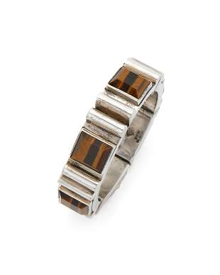 An Antonio Pineda sterling silver and tiger's eye