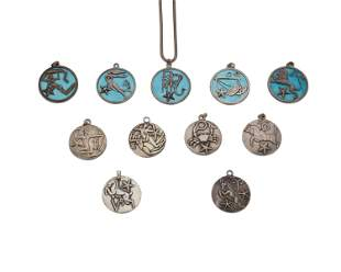 """A group of Margot de Taxco Mexican silver """"Zodiac"""""""