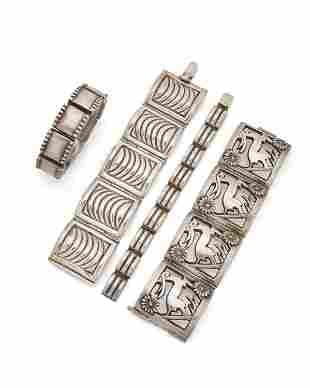 A group of Fred Davis silver bracelets
