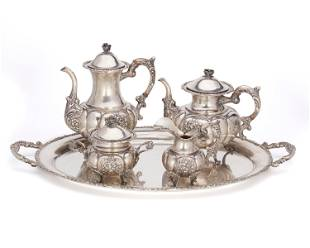 A German sterling silver tea and coffee service