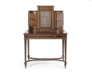 A French brass-inlaid mahogany vitrine desk