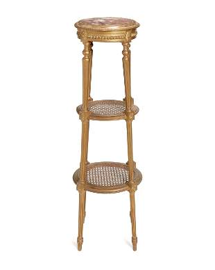 A French Louis XVI-style carved giltwood stand