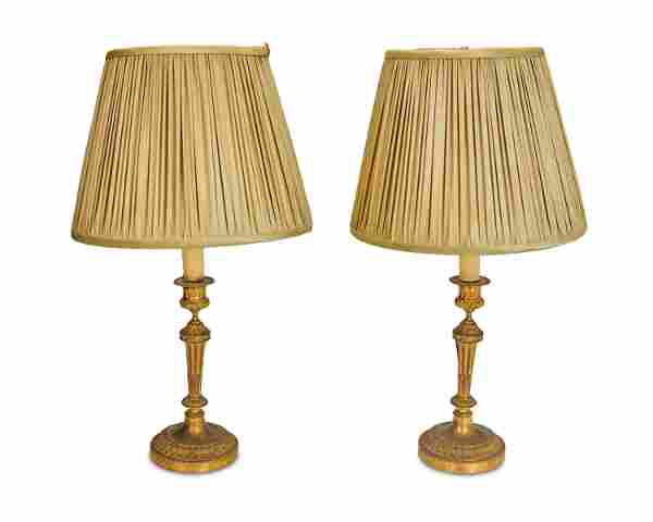 A pair of French Louis XVI-style boudoir candle lamps