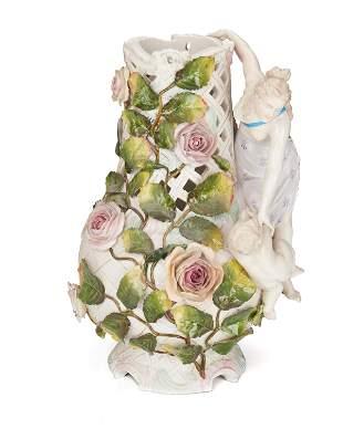 A Sitzendorf porcelain figural vase