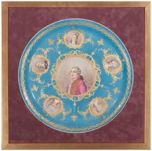 A Sevres-style framed porcelain portrait plaque
