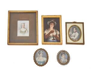 Five framed hand-painted portrait miniatures