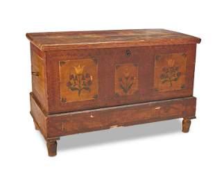 A Pennsylvania Dutch painted wood chest