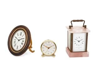 Three Swiss diminutive table clocks