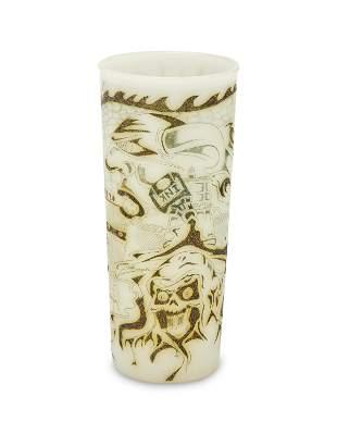 A Prison Art tattoo practice piece on Tupperware