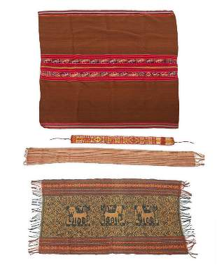 A group of Indonesian and South American textiles