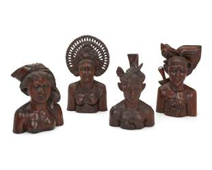 """Two pairs of """"Loro Blonyo"""" carved wood busts"""