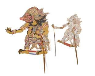 Two Indonesian painted leather shadow puppets