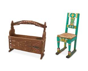 Two Southeast Asian carved wood furniture items