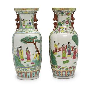 A pair of Chinese Famille Verte-style vases