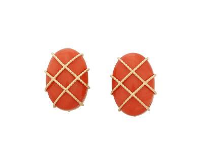 A pair of coral earrings