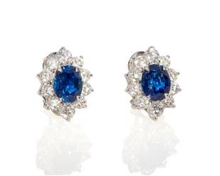 A pair of sapphire and diamond earrings