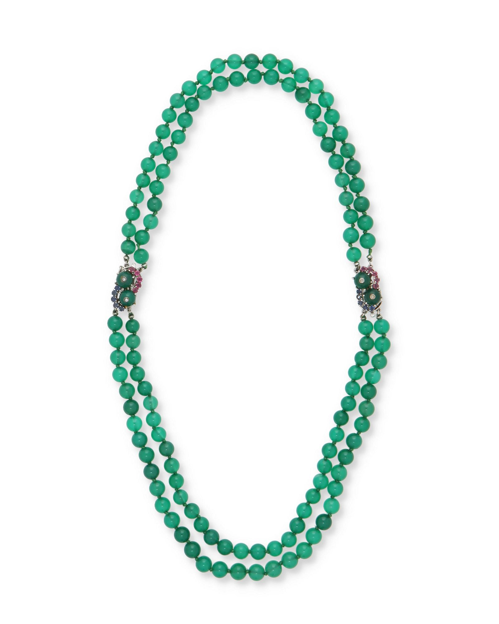A chrysoprase and gem-set necklace