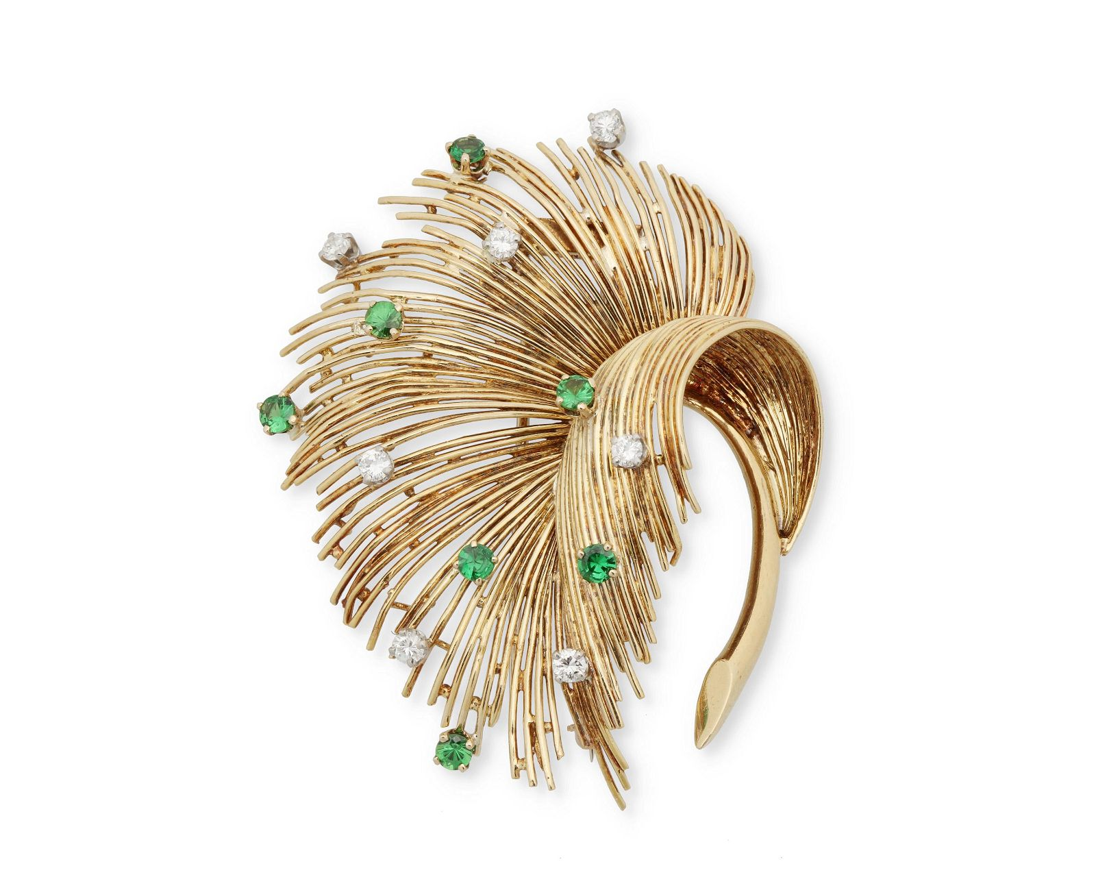 A Tiffany & Co. emerald and diamond feather brooch