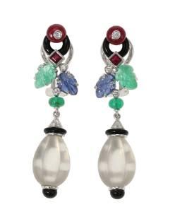 A pair of gem-set foliate ear pendants