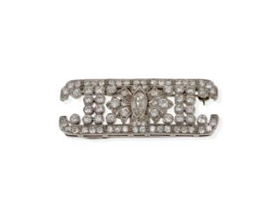 A modified Art Deco diamond brooch