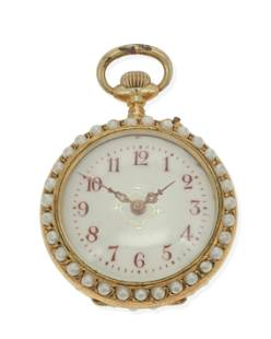 A gilt-silver and enameled pocket watch