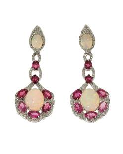 A pair of opal, tourmaline, and diamond ear pedants