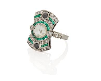 A diamond and gem-set ring