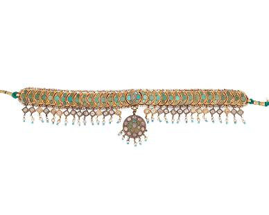 An Indian turquoise and diamond choker necklace