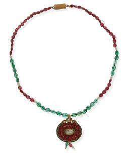 An Indian gem-set and enamel necklace