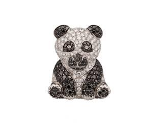 A black and white diamond panda brooch